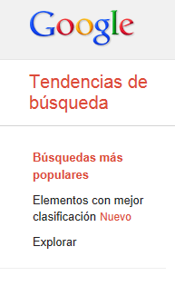 Google Trends - Menú lateral